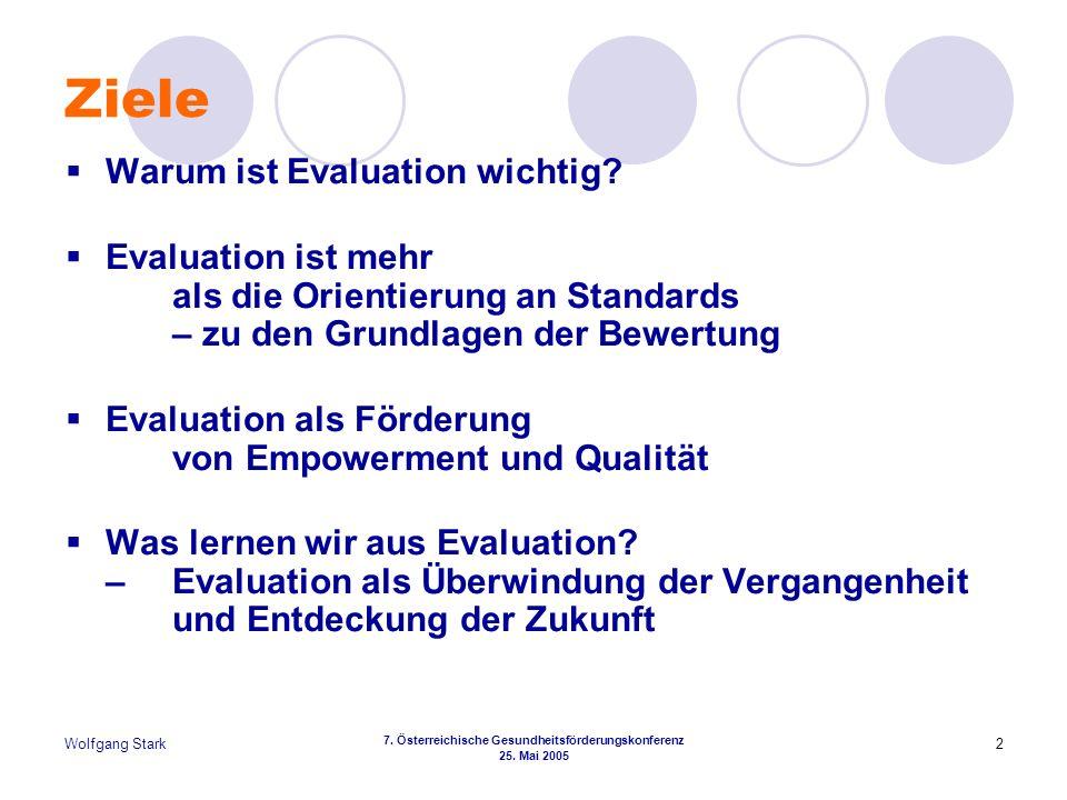 Wolfgang Stark 7. Österreichische Gesundheitsförderungskonferenz 25. Mai 2005 2 Ziele Warum ist Evaluation wichtig? Evaluation ist mehr als die Orient