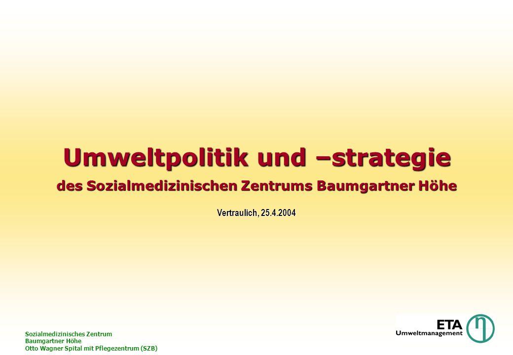 Sozialmedizinisches Zentrum Baumgartner Höhe Otto Wagner Spital mit Pflegezentrum (SZB) Umweltpolitik und –strategie des Sozialmedizinischen Zentrums