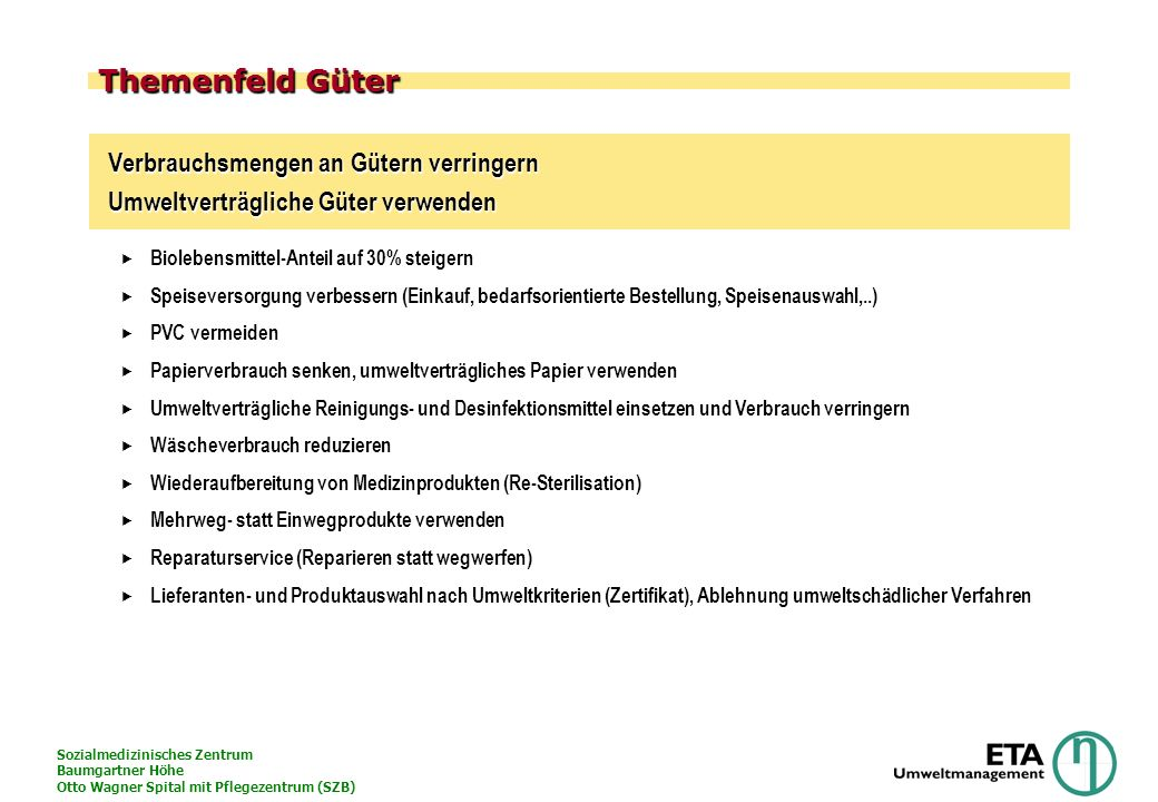 Sozialmedizinisches Zentrum Baumgartner Höhe Otto Wagner Spital mit Pflegezentrum (SZB) Themenfeld Güter Verbrauchsmengen an Gütern verringern Umweltv