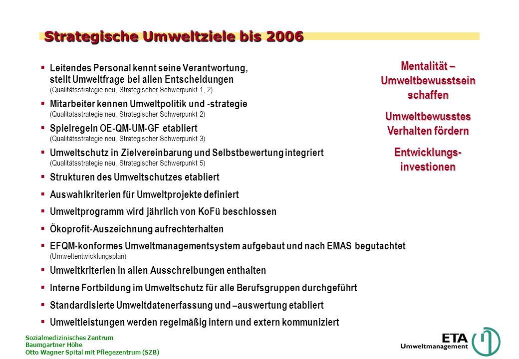 Sozialmedizinisches Zentrum Baumgartner Höhe Otto Wagner Spital mit Pflegezentrum (SZB) Strategische Umweltziele bis 2006 Leitendes Personal kennt sei