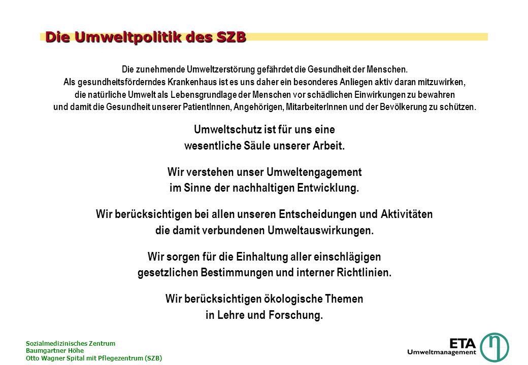 Sozialmedizinisches Zentrum Baumgartner Höhe Otto Wagner Spital mit Pflegezentrum (SZB) Die Umweltpolitik des SZB Die zunehmende Umweltzerstörung gefä