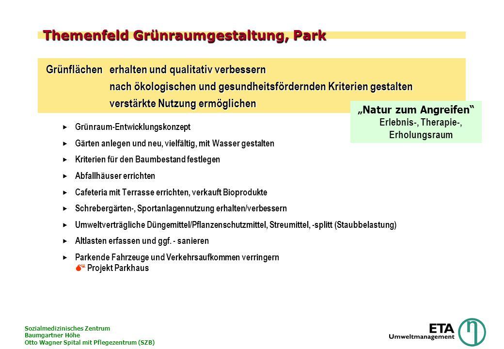 Sozialmedizinisches Zentrum Baumgartner Höhe Otto Wagner Spital mit Pflegezentrum (SZB) Organisation des Umweltschutzes im SZB Sicherheitstechnik Bau-& Haustechnik Medizintechnik Orthopädie I.