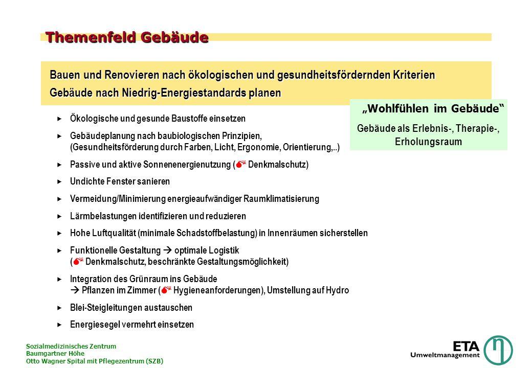 Sozialmedizinisches Zentrum Baumgartner Höhe Otto Wagner Spital mit Pflegezentrum (SZB) Themenfeld Gebäude Ökologische und gesunde Baustoffe einsetzen