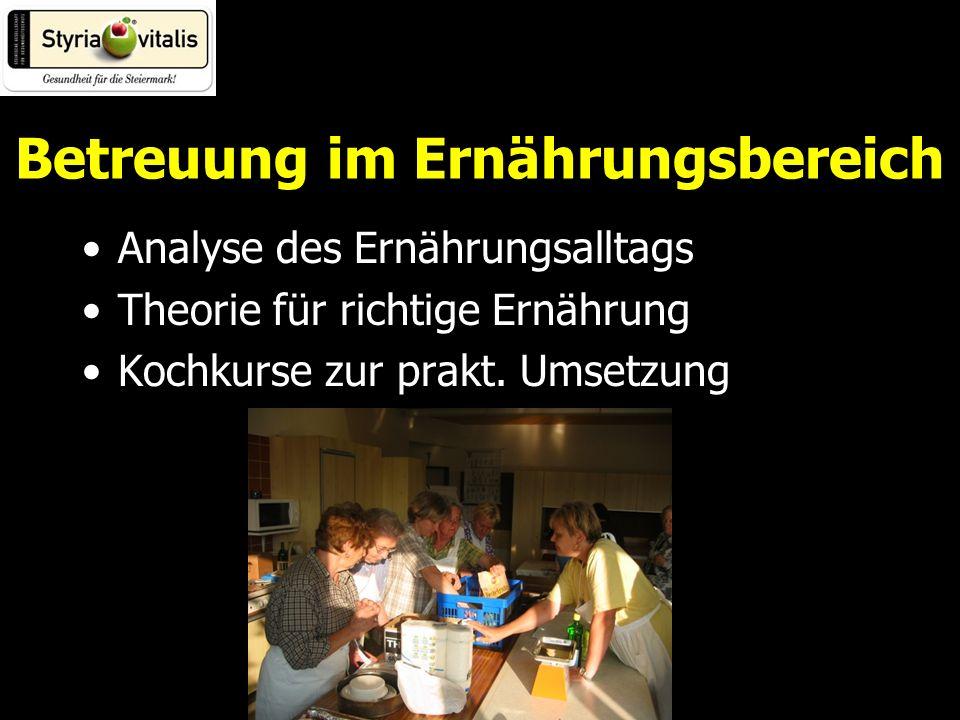 Betreuung im Ernährungsbereich Analyse des Ernährungsalltags Theorie für richtige Ernährung Kochkurse zur prakt.