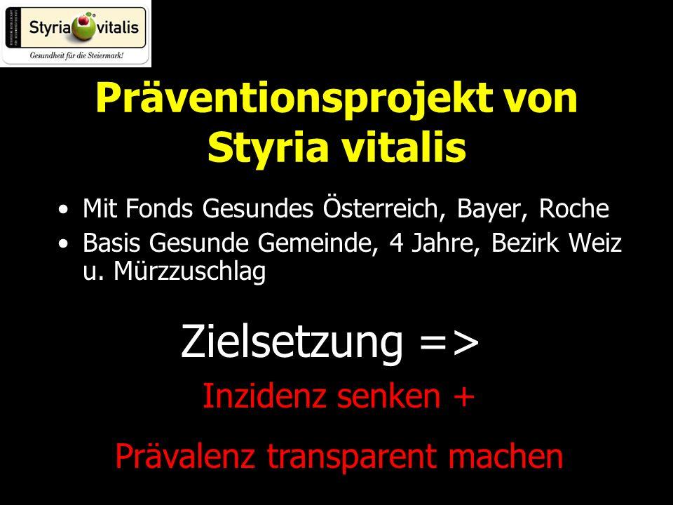 Präventionsprojekt von Styria vitalis Mit Fonds Gesundes Österreich, Bayer, Roche Basis Gesunde Gemeinde, 4 Jahre, Bezirk Weiz u.