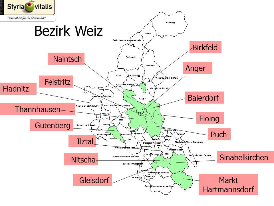 Bezirk Weiz Birkfeld Anger Baierdorf Floing Puch Sinabelkirchen Markt Hartmannsdorf Naintsch Feistritz Thannhausen Gutenberg Nitscha Gleisdorf Ilztal Fladnitz