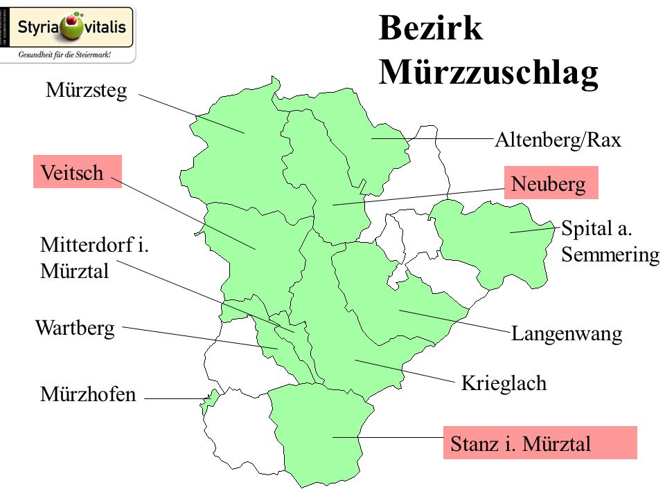Bezirk Mürzzuschlag Altenberg/Rax Spital a. Semmering Langenwang Krieglach Stanz i.