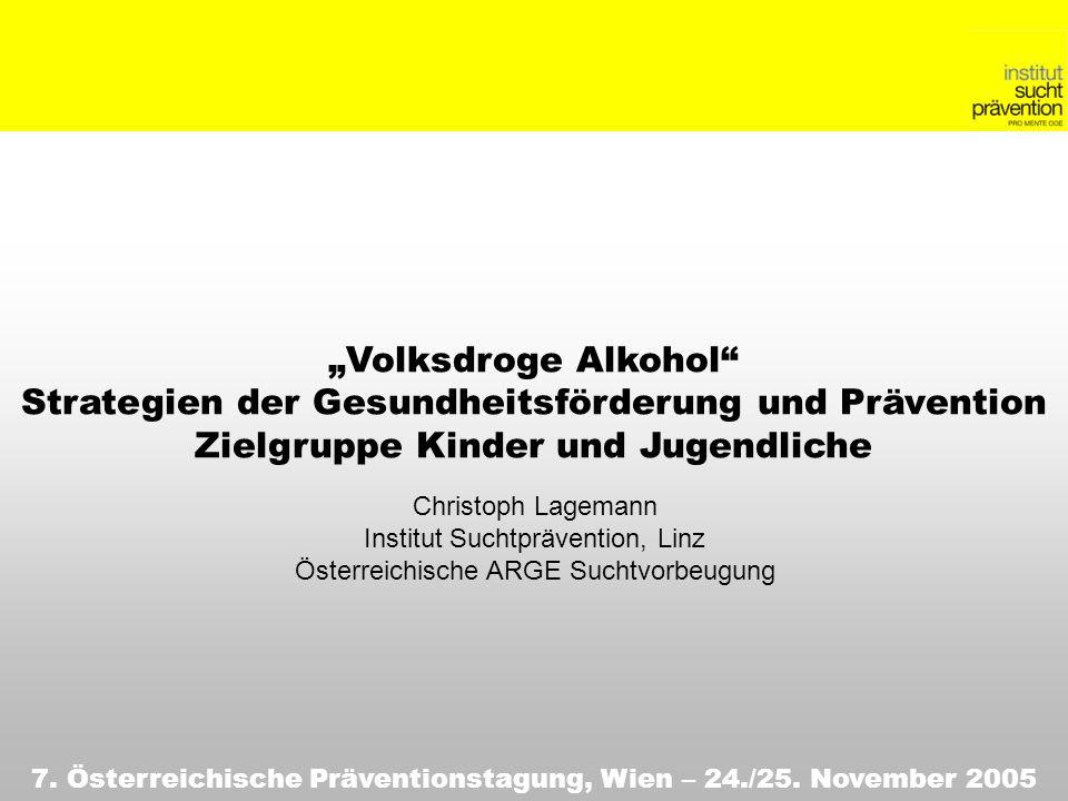 Volksdroge Alkohol Strategien der Gesundheitsförderung und Prävention Zielgruppe Kinder und Jugendliche 7. Österreichische Präventionstagung, Wien – 2