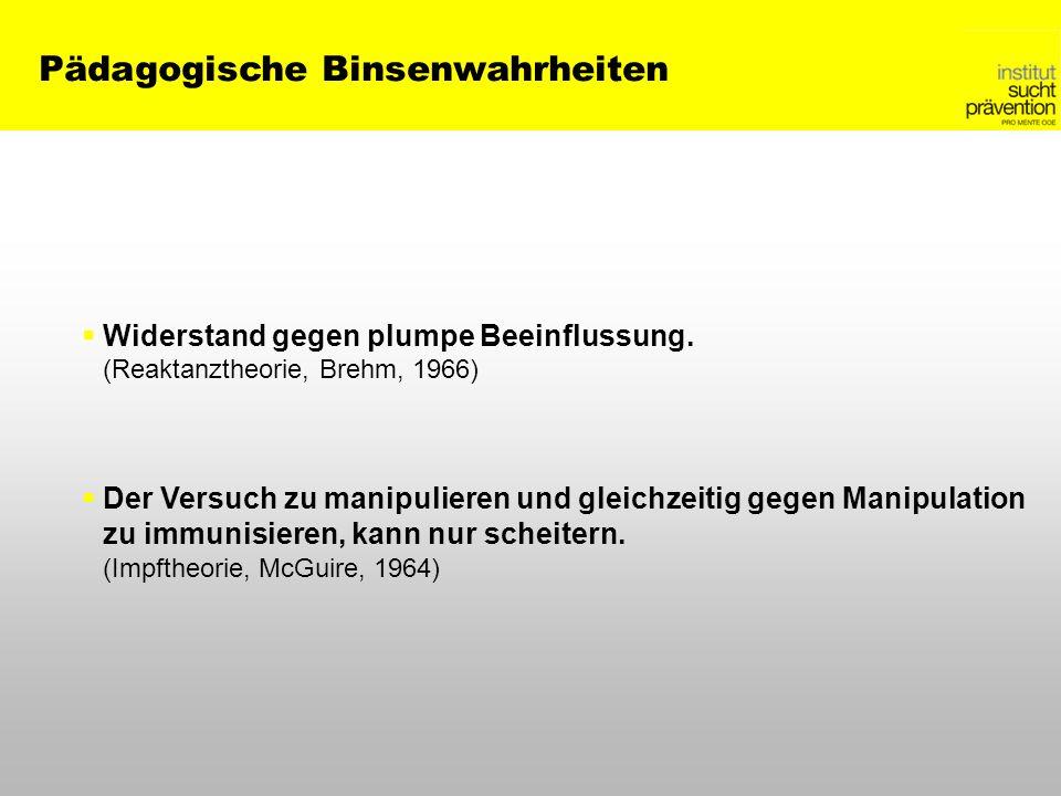 Pädagogische Binsenwahrheiten Widerstand gegen plumpe Beeinflussung. (Reaktanztheorie, Brehm, 1966) Der Versuch zu manipulieren und gleichzeitig gegen