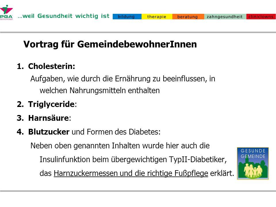 Vortrag für GemeindebewohnerInnen 1.Cholesterin: Aufgaben, wie durch die Ernährung zu beeinflussen, in welchen Nahrungsmitteln enthalten 2.Triglycerid