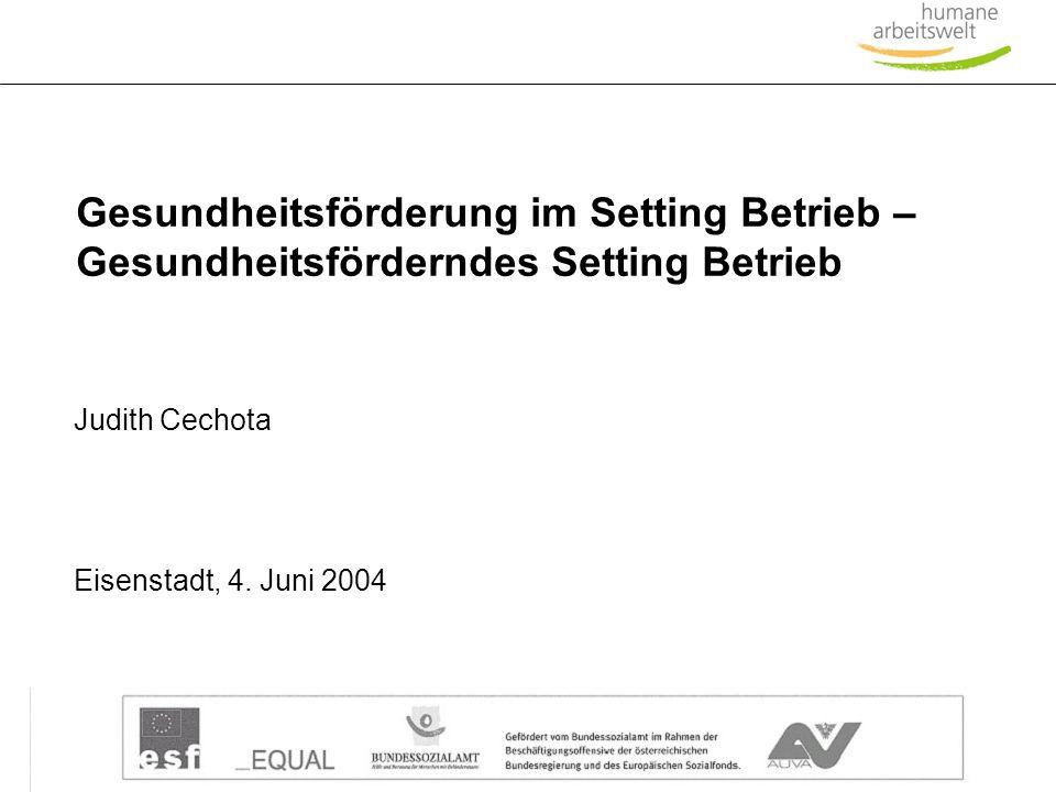 6._GF-Konferenz.ppt 1 Gesundheitsförderung im Setting Betrieb – Gesundheitsförderndes Setting Betrieb Eisenstadt, 4. Juni 2004 Judith Cechota