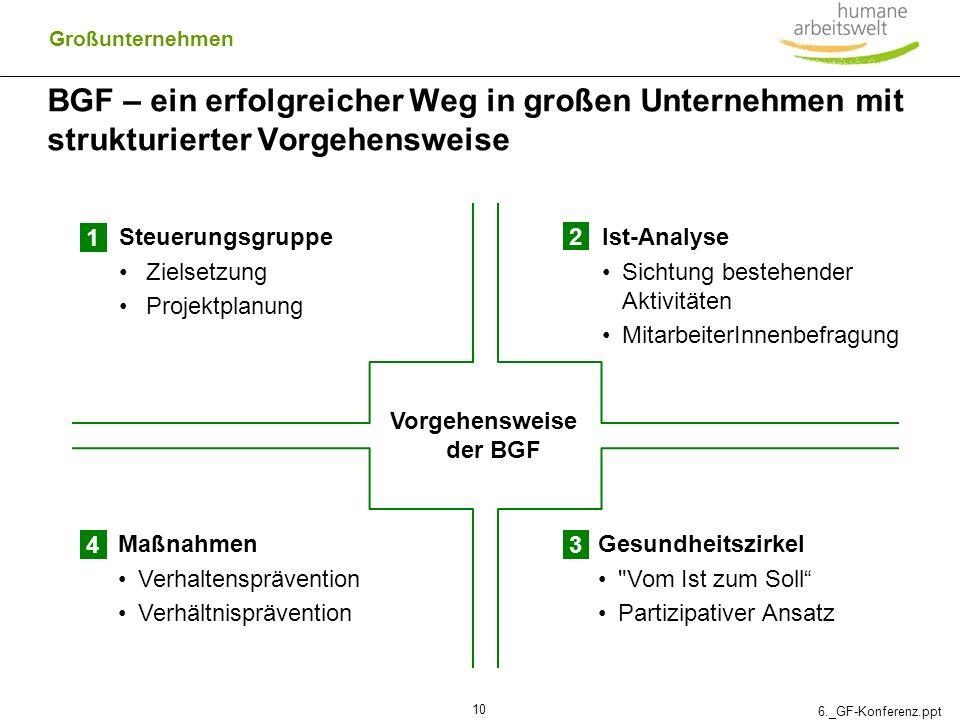 6._GF-Konferenz.ppt 10 BGF – ein erfolgreicher Weg in großen Unternehmen mit strukturierter Vorgehensweise Vorgehensweise der BGF Ist-Analyse Sichtung