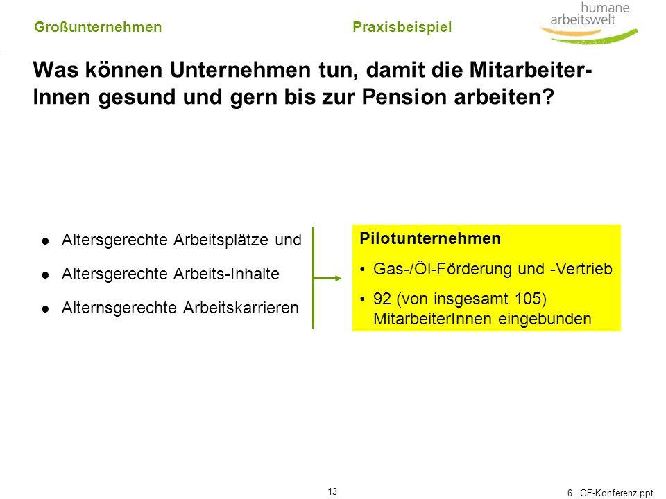 6._GF-Konferenz.ppt 13 Was können Unternehmen tun, damit die Mitarbeiter- Innen gesund und gern bis zur Pension arbeiten? Altersgerechte Arbeitsplätze