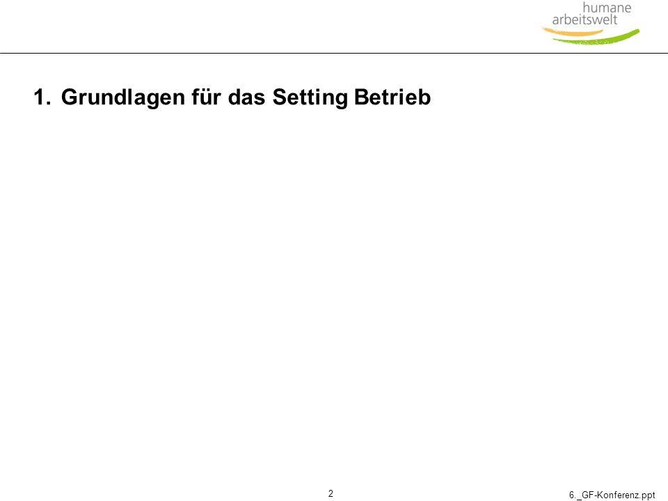 6._GF-Konferenz.ppt 3 Betriebliche Gesundheitsförderung (BGF) in Österreich – ein Überblick 1993Erstes Pilotprojekt BGF 1995Gründung des EU-Netzwerkes Betriebliche Gesundheitsförderung 1996Einrichtung der Nationalen Kontaktstelle bei der OÖGKK 2000Aufbau von Kontaktstellen BGF in jedem Bundesland