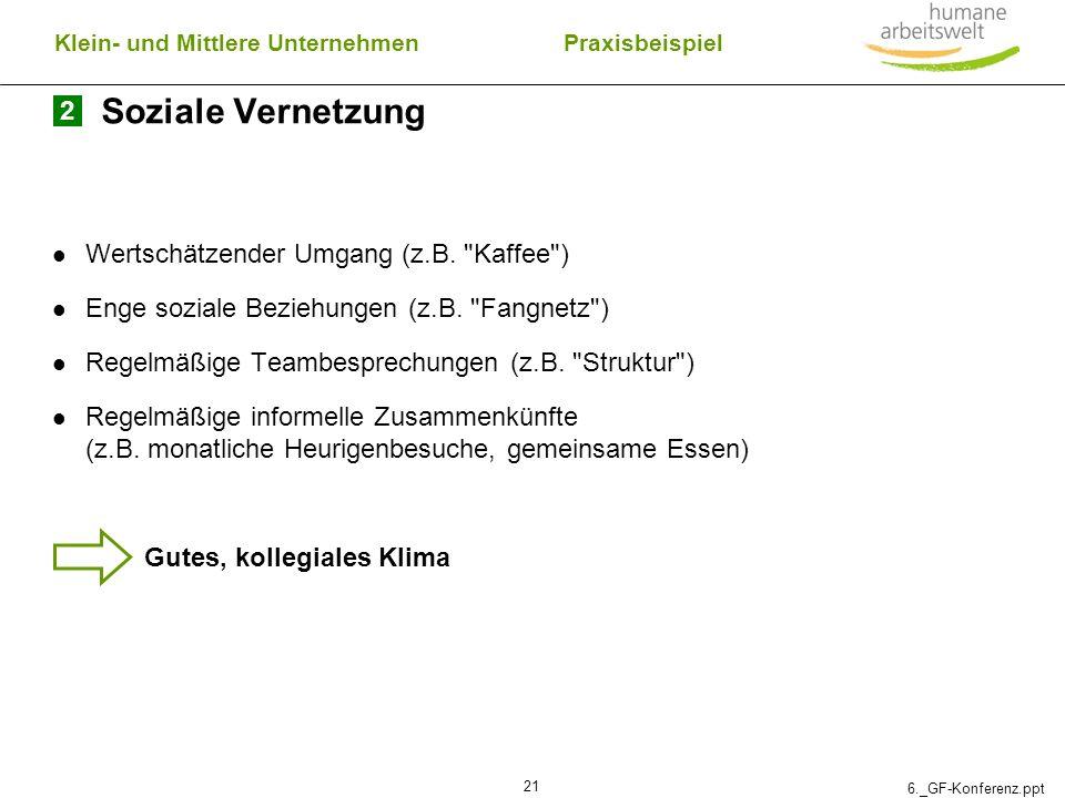 6._GF-Konferenz.ppt 21 Soziale Vernetzung Wertschätzender Umgang (z.B.