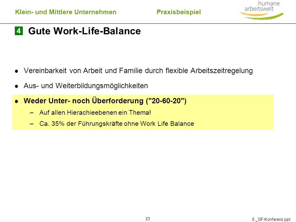 6._GF-Konferenz.ppt 23 Gute Work-Life-Balance Vereinbarkeit von Arbeit und Familie durch flexible Arbeitszeitregelung Aus- und Weiterbildungsmöglichke