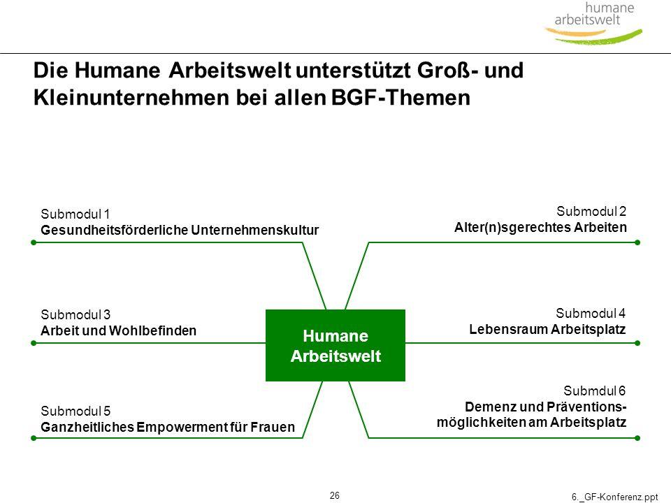 6._GF-Konferenz.ppt 26 Die Humane Arbeitswelt unterstützt Groß- und Kleinunternehmen bei allen BGF-Themen Humane Arbeitswelt Submodul 1 Gesundheitsför