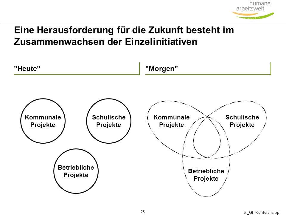 6._GF-Konferenz.ppt 28 Eine Herausforderung für die Zukunft besteht im Zusammenwachsen der Einzelinitiativen