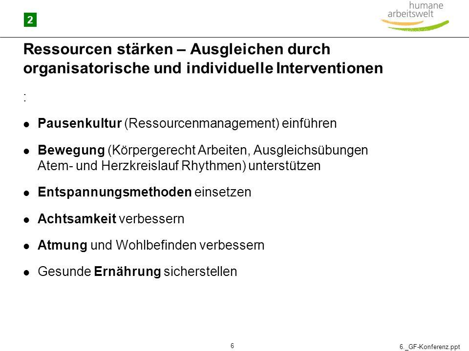 6._GF-Konferenz.ppt 6 Ressourcen stärken – Ausgleichen durch organisatorische und individuelle Interventionen : Pausenkultur (Ressourcenmanagement) ei