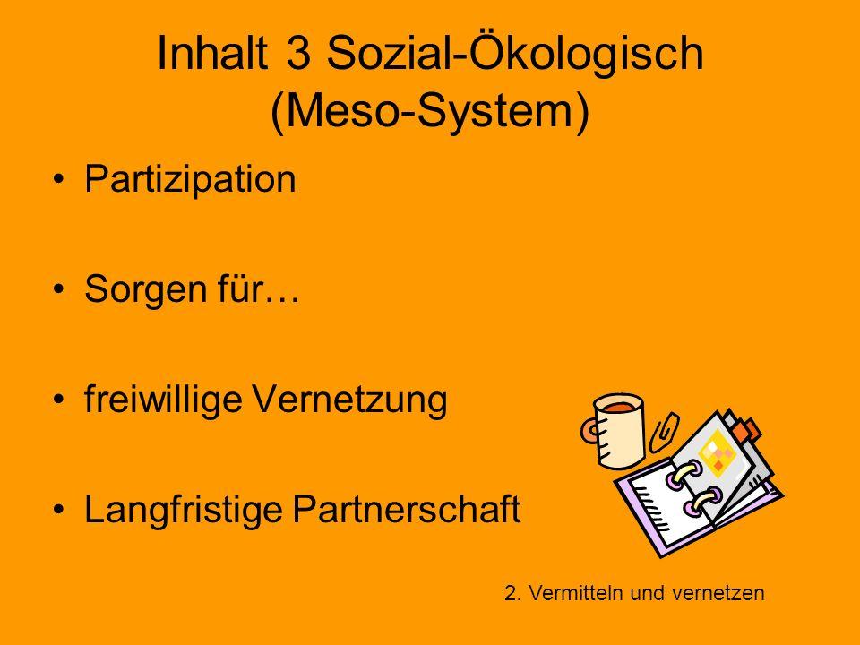 Inhalt 3 Sozial-Ökologisch (Meso-System) Partizipation Sorgen für… freiwillige Vernetzung Langfristige Partnerschaft 2. Vermitteln und vernetzen