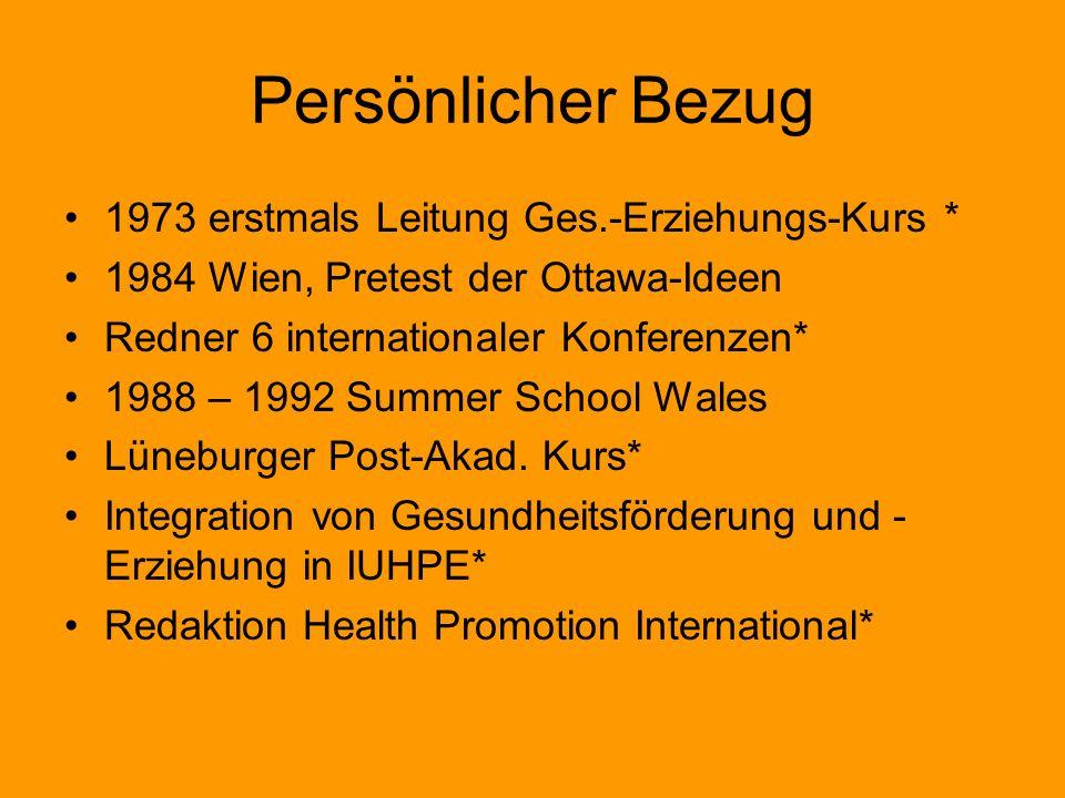 Persönlicher Bezug 1973 erstmals Leitung Ges.-Erziehungs-Kurs * 1984 Wien, Pretest der Ottawa-Ideen Redner 6 internationaler Konferenzen* 1988 – 1992