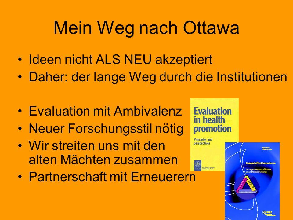 Mein Weg nach Ottawa Ideen nicht ALS NEU akzeptiert Daher: der lange Weg durch die Institutionen Evaluation mit Ambivalenz Neuer Forschungsstil nötig