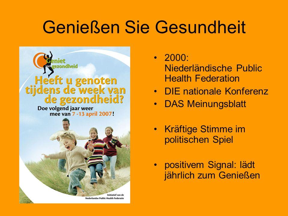 Genießen Sie Gesundheit 2000: Niederländische Public Health Federation DIE nationale Konferenz DAS Meinungsblatt Kräftige Stimme im politischen Spiel