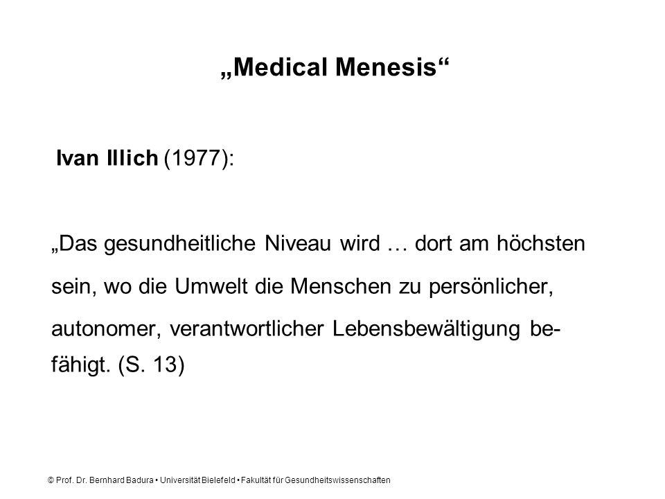 © Prof. Dr. Bernhard Badura Universität Bielefeld Fakultät für Gesundheitswissenschaften Medical Menesis Ivan Illich (1977): Das gesundheitliche Nivea