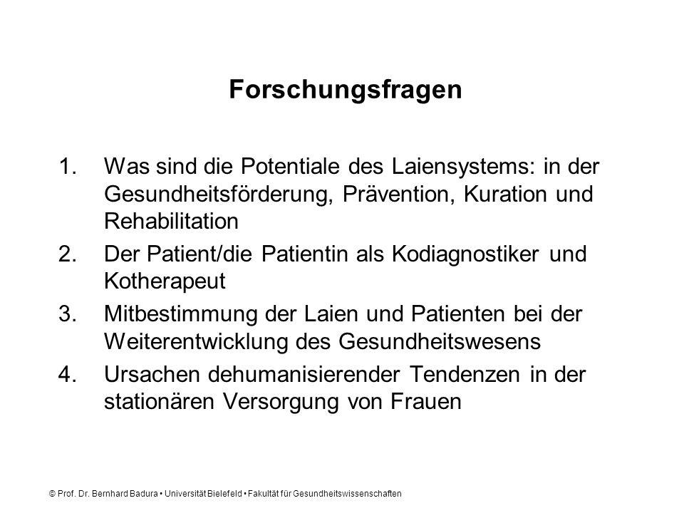 © Prof. Dr. Bernhard Badura Universität Bielefeld Fakultät für Gesundheitswissenschaften Forschungsfragen 1.Was sind die Potentiale des Laiensystems: