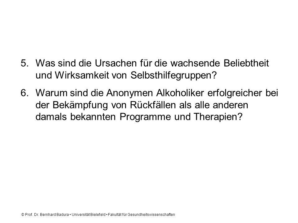© Prof. Dr. Bernhard Badura Universität Bielefeld Fakultät für Gesundheitswissenschaften 5.Was sind die Ursachen für die wachsende Beliebtheit und Wir