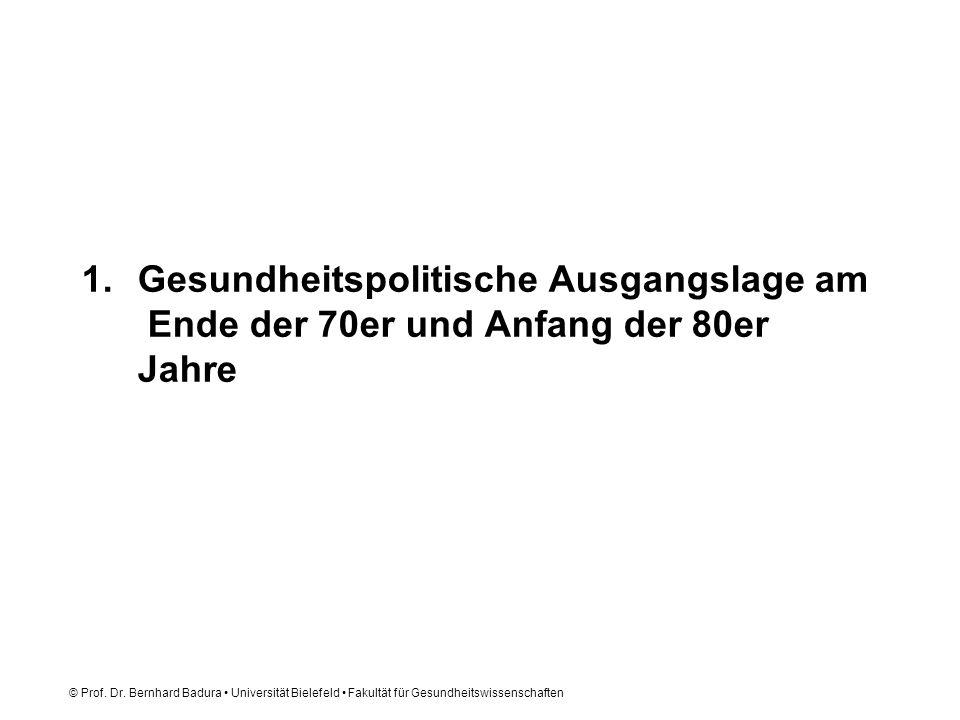 © Prof. Dr. Bernhard Badura Universität Bielefeld Fakultät für Gesundheitswissenschaften 1.Gesundheitspolitische Ausgangslage am Ende der 70er und Anf