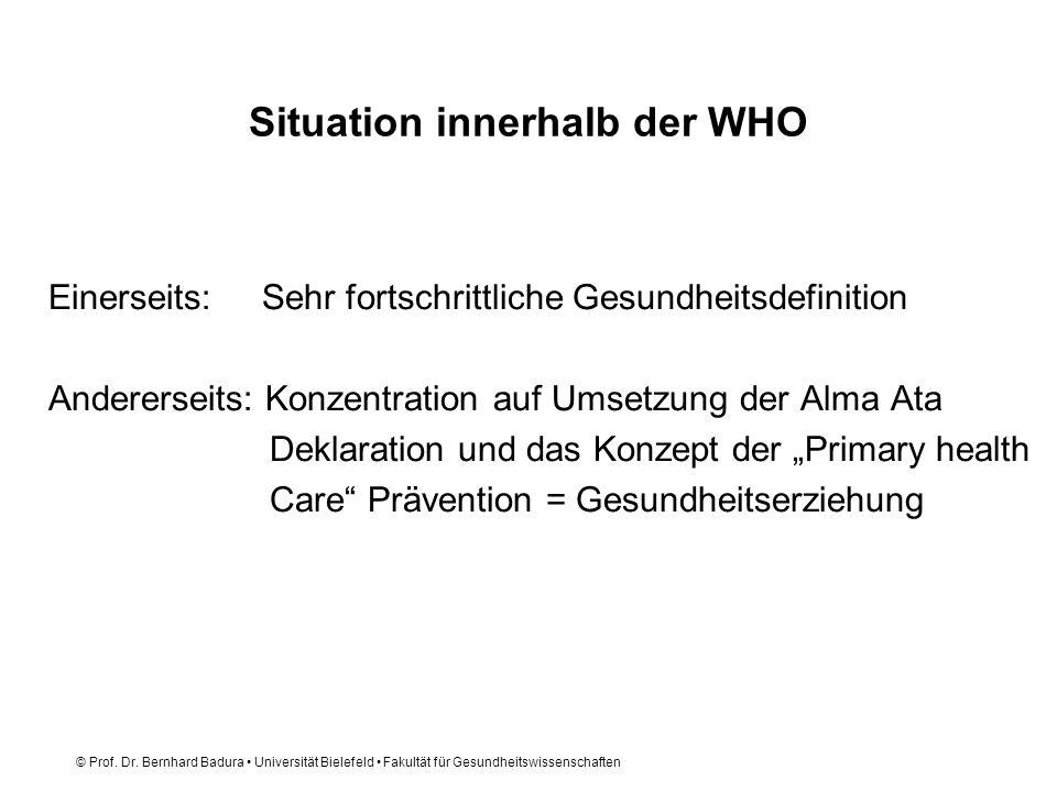 © Prof. Dr. Bernhard Badura Universität Bielefeld Fakultät für Gesundheitswissenschaften Situation innerhalb der WHO Einerseits: Sehr fortschrittliche