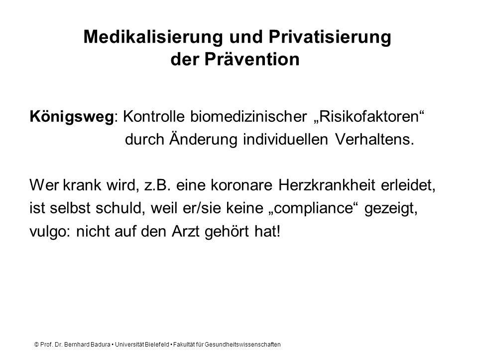 © Prof. Dr. Bernhard Badura Universität Bielefeld Fakultät für Gesundheitswissenschaften Medikalisierung und Privatisierung der Prävention Königsweg:
