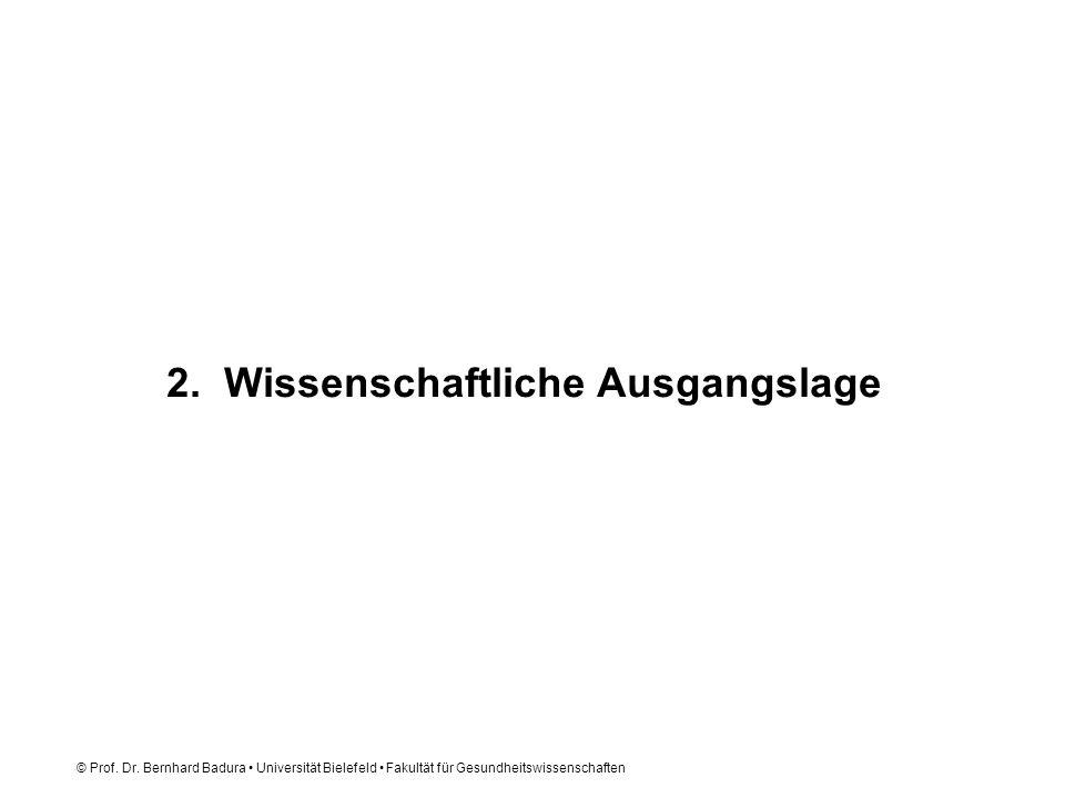 © Prof. Dr. Bernhard Badura Universität Bielefeld Fakultät für Gesundheitswissenschaften 2. Wissenschaftliche Ausgangslage