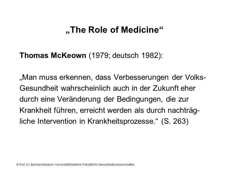© Prof. Dr. Bernhard Badura Universität Bielefeld Fakultät für Gesundheitswissenschaften The Role of Medicine Thomas McKeown (1979; deutsch 1982): Man