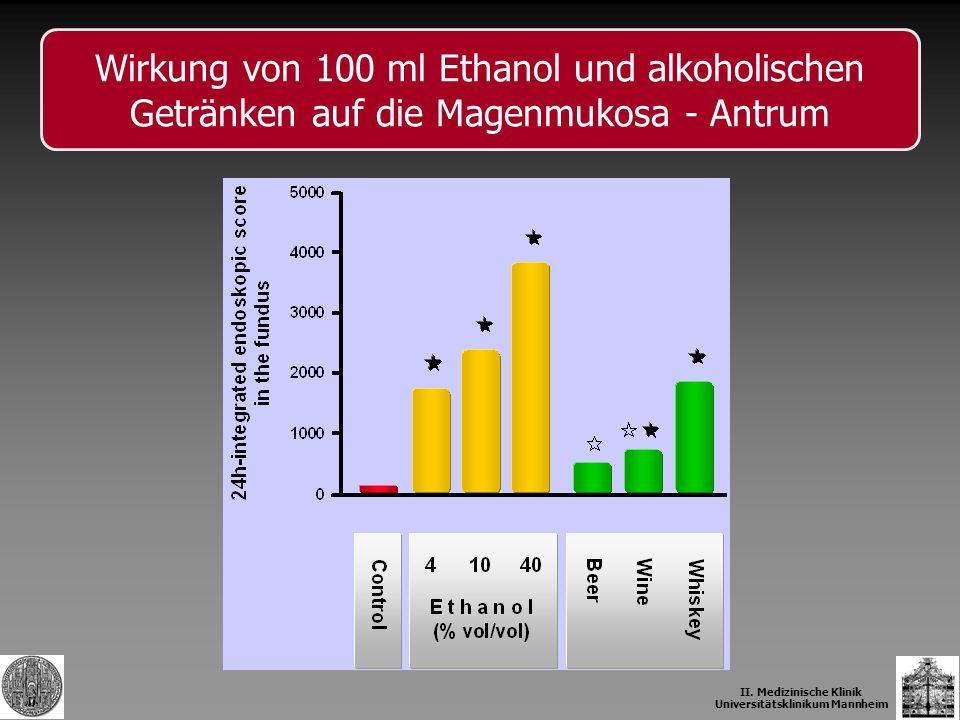 Wirkung von 100 ml Ethanol und alkoholischen Getränken auf die Magenmukosa - Antrum II. Medizinische Klinik Universitätsklinikum Mannheim