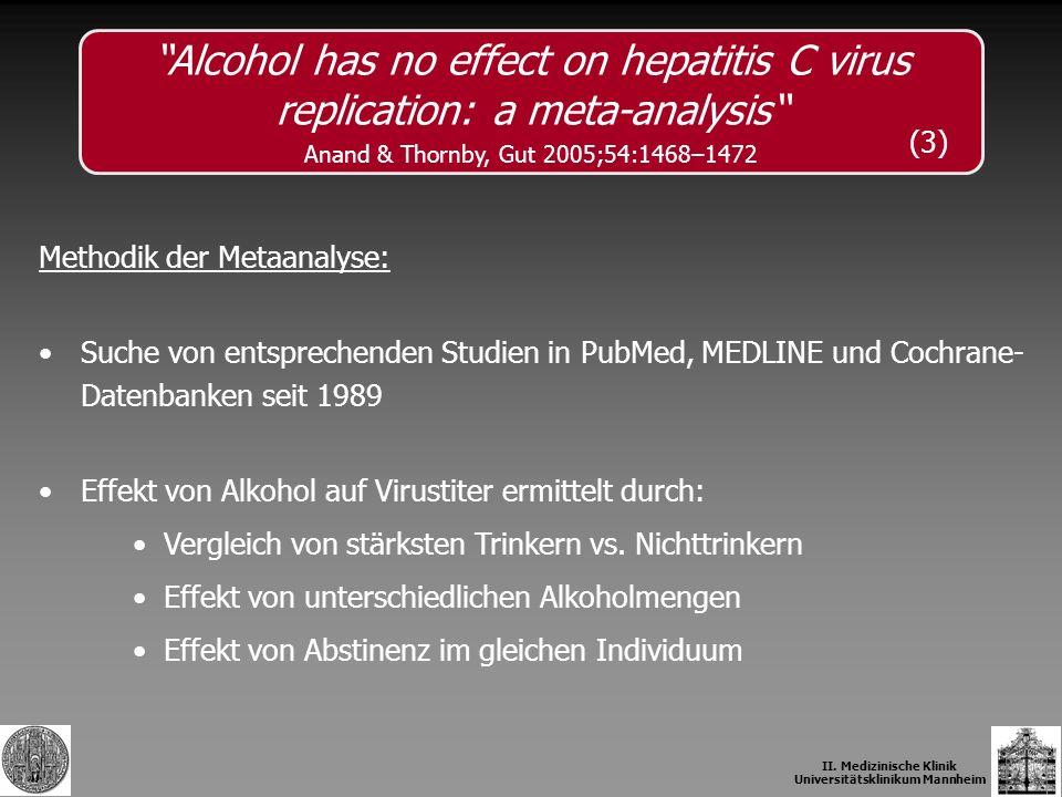II. Medizinische Klinik Universitätsklinikum Mannheim Methodik der Metaanalyse: Suche von entsprechenden Studien in PubMed, MEDLINE und Cochrane- Date