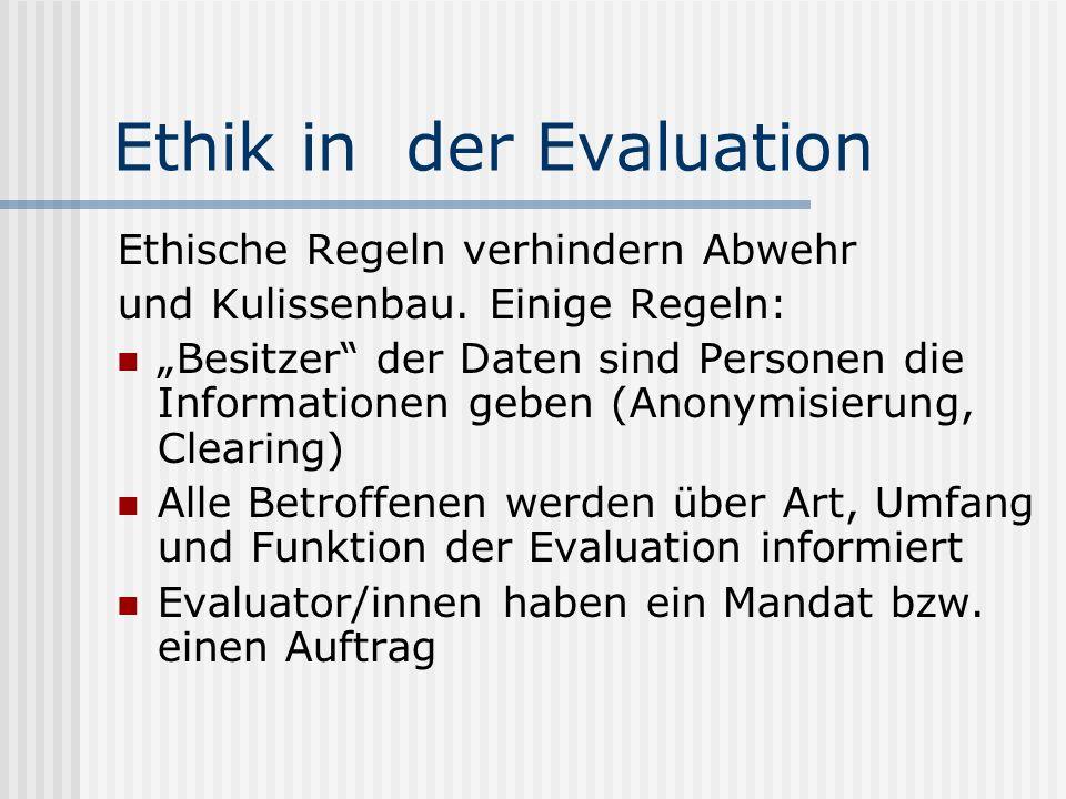 Ethik in der Evaluation Ethische Regeln verhindern Abwehr und Kulissenbau. Einige Regeln: Besitzer der Daten sind Personen die Informationen geben (An