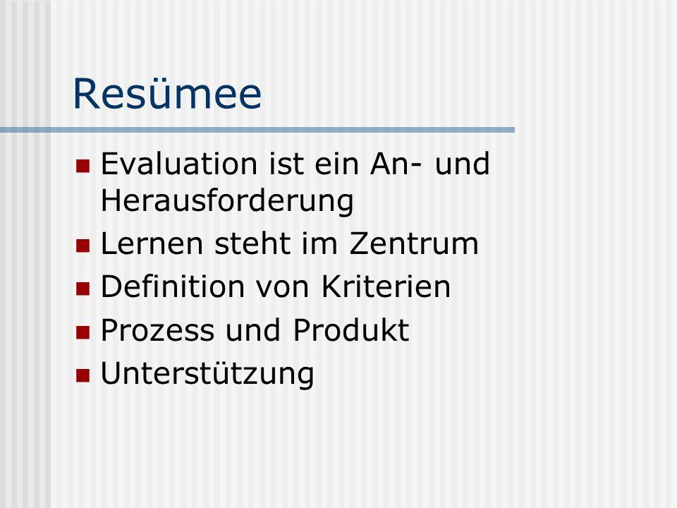 Resümee Evaluation ist ein An- und Herausforderung Lernen steht im Zentrum Definition von Kriterien Prozess und Produkt Unterstützung