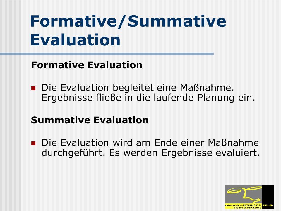 Formative/Summative Evaluation Formative Evaluation Die Evaluation begleitet eine Maßnahme. Ergebnisse fließe in die laufende Planung ein. Summative E