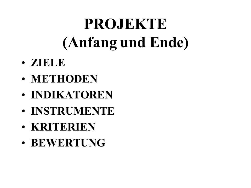 PROJEKTE (Anfang und Ende) ZIELE METHODEN INDIKATOREN INSTRUMENTE KRITERIEN BEWERTUNG