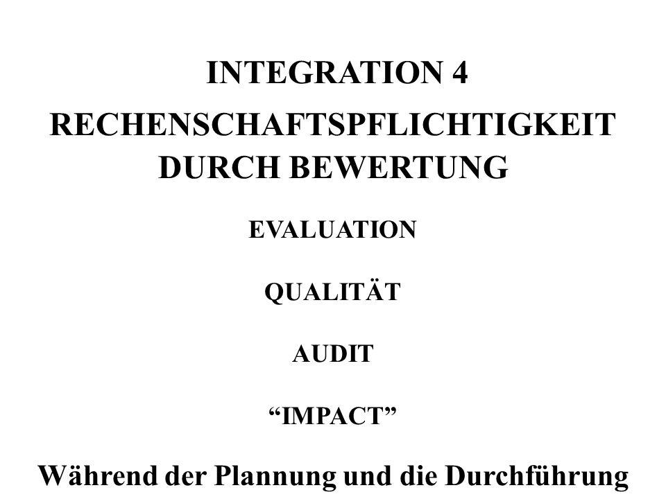 INTEGRATION 4 RECHENSCHAFTSPFLICHTIGKEIT DURCH BEWERTUNG EVALUATION QUALITÄT AUDIT IMPACT Während der Plannung und die Durchführung