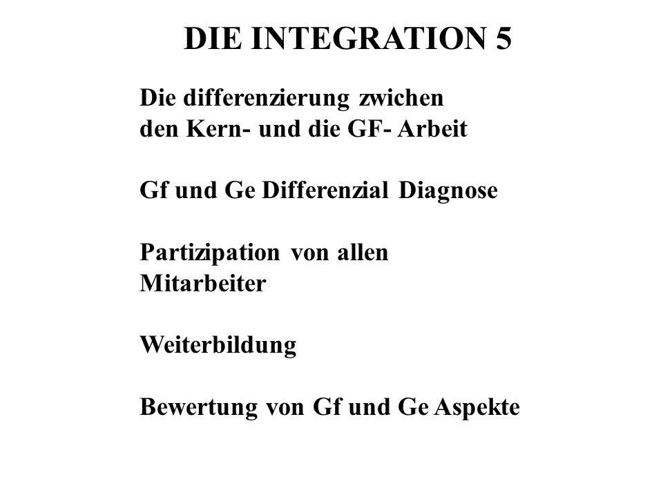 DIE INTEGRATION 5 Die differenzierung zwichen den Kern- und die GF- Arbeit Gf und Ge Differenzial Diagnose Partizipation von allen Mitarbeiter Weiterb