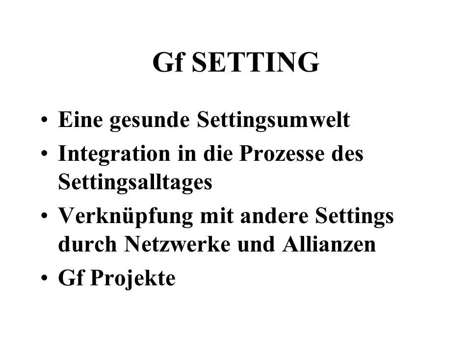Gf SETTING Eine gesunde Settingsumwelt Integration in die Prozesse des Settingsalltages Verknüpfung mit andere Settings durch Netzwerke und Allianzen