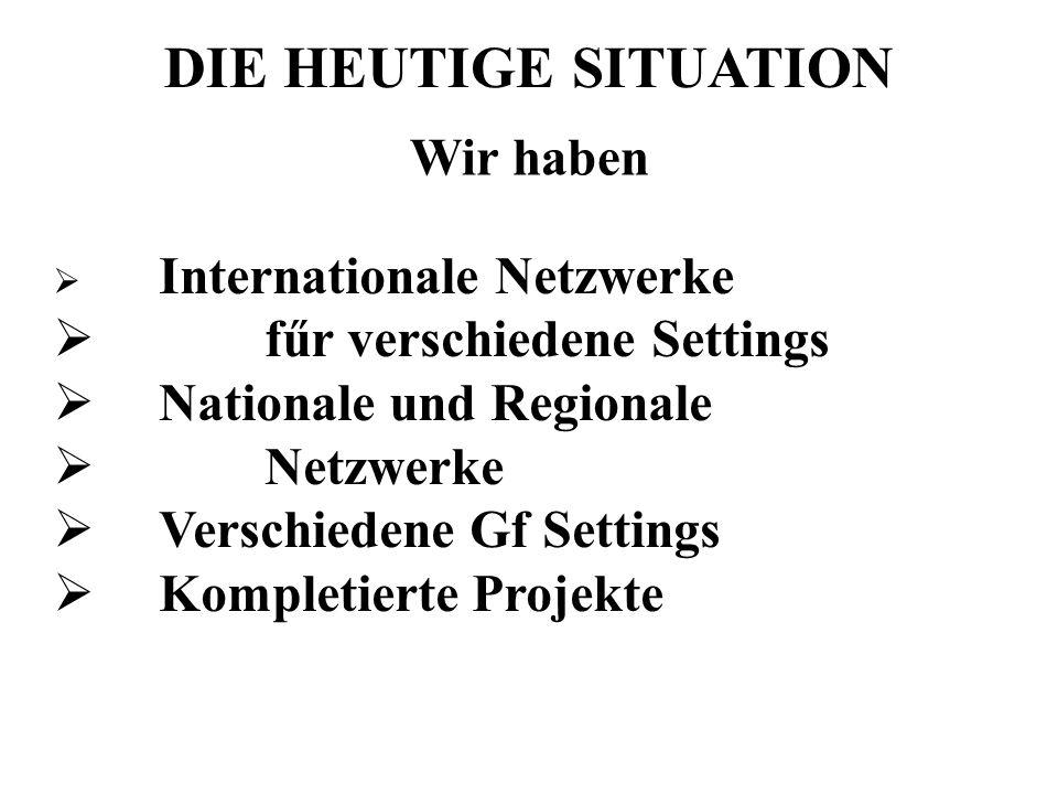 DIE HEUTIGE SITUATION Wir haben Internationale Netzwerke fűr verschiedene Settings Nationale und Regionale Netzwerke Verschiedene Gf Settings Kompleti