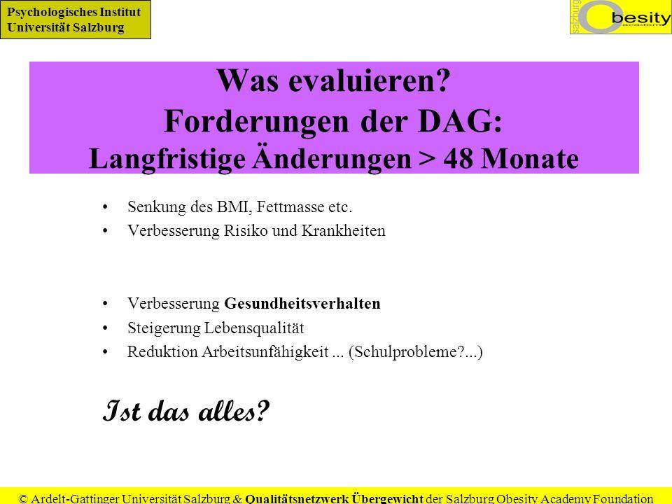 Psychologisches Institut Universität Salzburg © Ardelt-Gattinger Universität Salzburg & Qualitätsnetzwerk Übergewicht der Salzburg Obesity Academy Foundation Erst evaluieren, dann generalisieren