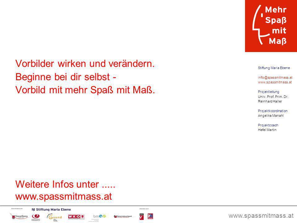 www.spassmitmass.at Seite 16 Vorbilder wirken und verändern. Beginne bei dir selbst - Vorbild mit mehr Spaß mit Maß. Stiftung Maria Ebene info@spassmi