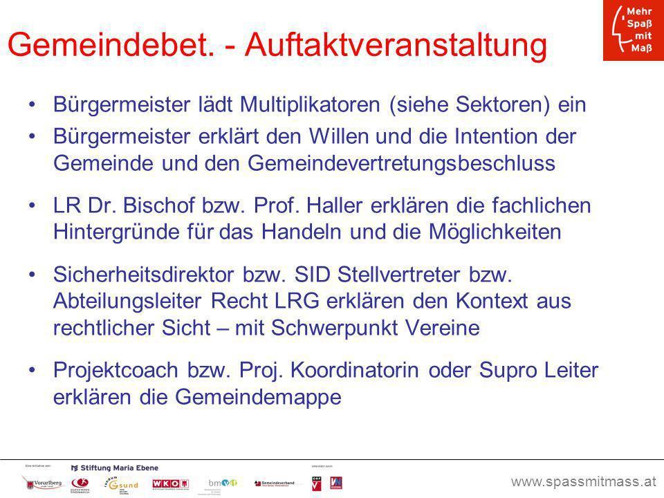 www.spassmitmass.at Seite 23 Gemeindebet. - Auftaktveranstaltung Bürgermeister lädt Multiplikatoren (siehe Sektoren) ein Bürgermeister erklärt den Wil