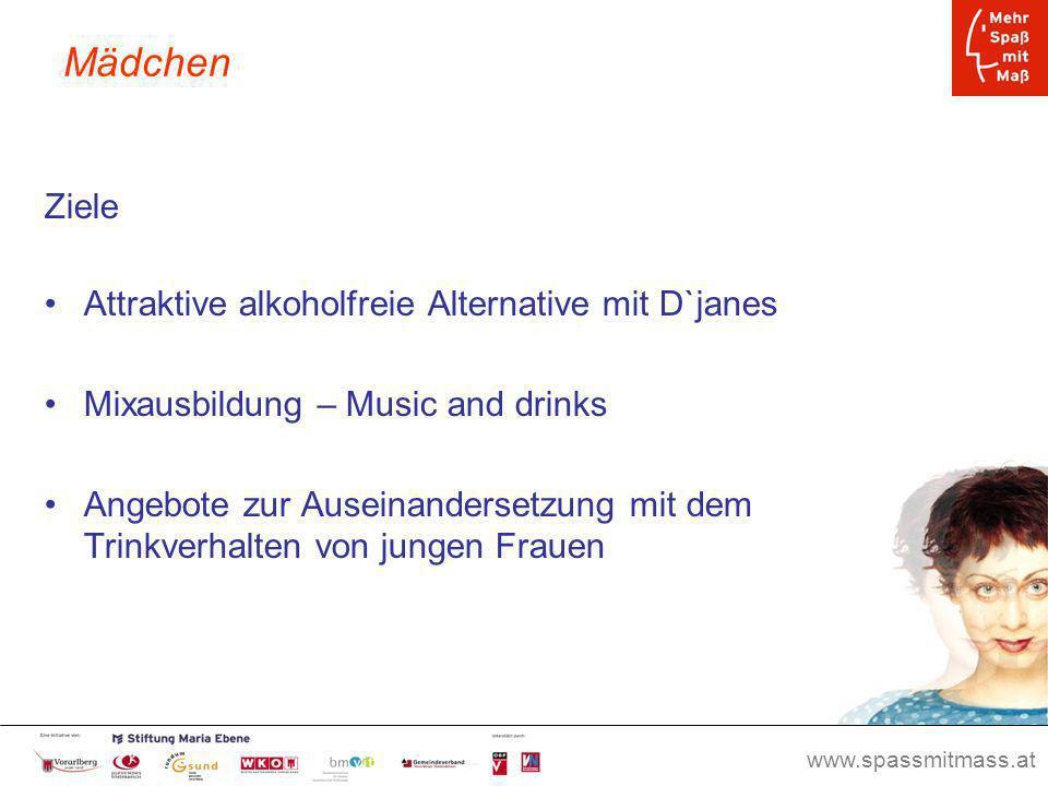 www.spassmitmass.at Seite 36 Mädchen Ziele Attraktive alkoholfreie Alternative mit D`janes Mixausbildung – Music and drinks Angebote zur Auseinanderse