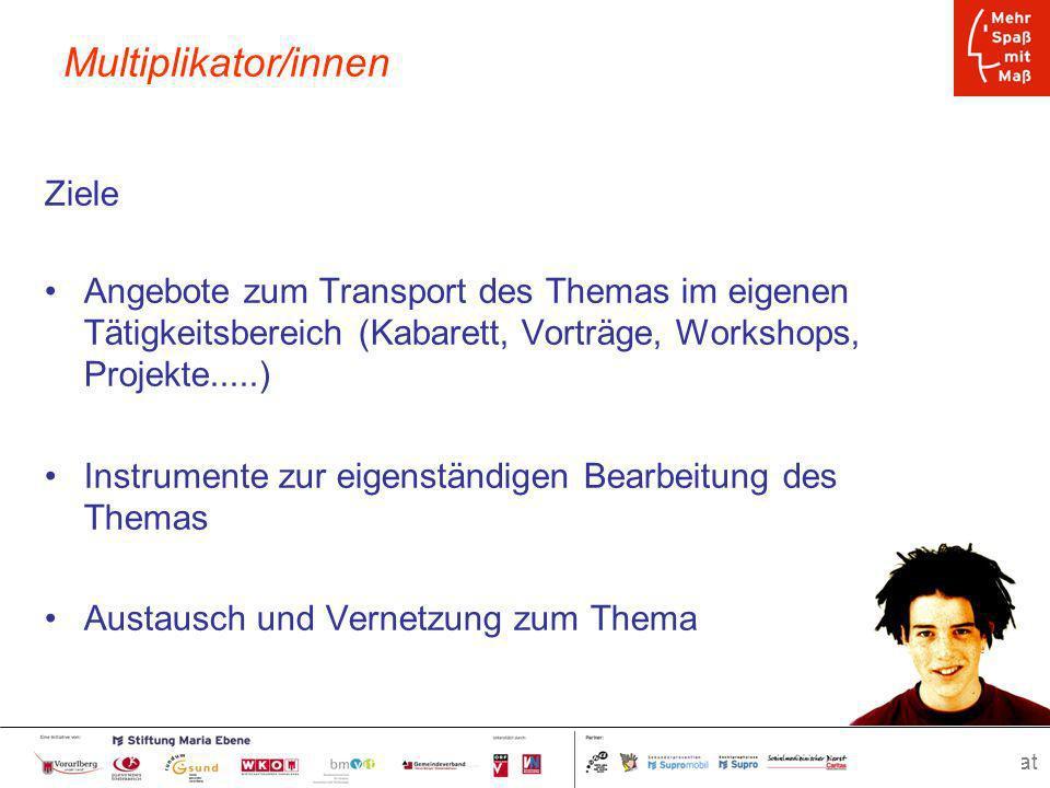 www.spassmitmass.at Seite 38 Multiplikator/innen Ziele Angebote zum Transport des Themas im eigenen Tätigkeitsbereich (Kabarett, Vorträge, Workshops,